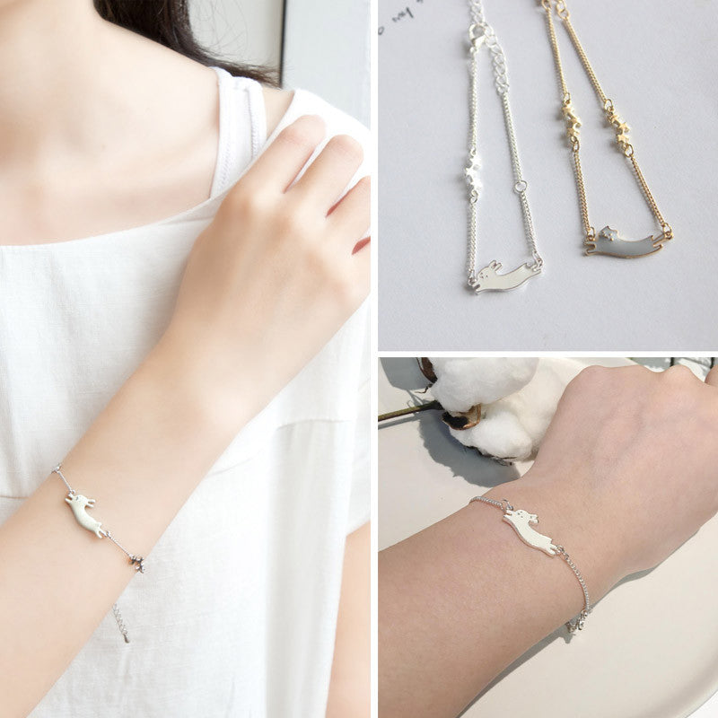 Fashion Jewelry Cute Cat Rabbit Star Chain Bracelet Romantic Charm Alloy Chain Bracelet For Girls And Women