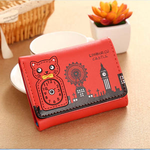 Cute Cat Mini Wallet Brief Wallet Card Coin Key Holder Wallet Pouch Bag Purse For Women