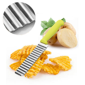 Creative Stainless Steel Wavy Cutter Potato Chips Vegetable Slicer Kitchen Gadgets