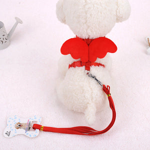 Cute Angel Wings Style Pet Traction Leash And Collars Dog Cat Puppy Harness Adjustable S Size 120*1CM