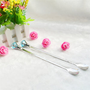2 Pcs/Set Diamond Shapes Long Handle Mixing Spoon Stainless Steel Dinnerware For Coffee Tea Milk