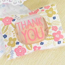 Cute Floral 100 Pcs Plastic THANK YOU Self-adhesive Cookie Candy Soap Packaging Bags Christmas Wedding Party Gift Packaging Bags