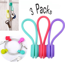 3 PCs Candy Color Magnetic Earphone Cord Organizer Headphone USB Cord Winder Clips Color Random