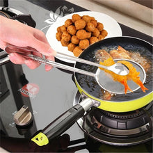 Kitchen Gadgets Stainless Steel Filter Spoon with Food Clip Oil Frying Spoon
