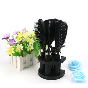 5Pcs Salon Hair Comb + Mirror Set With Hairbrush Modelling Holder Styling Tool