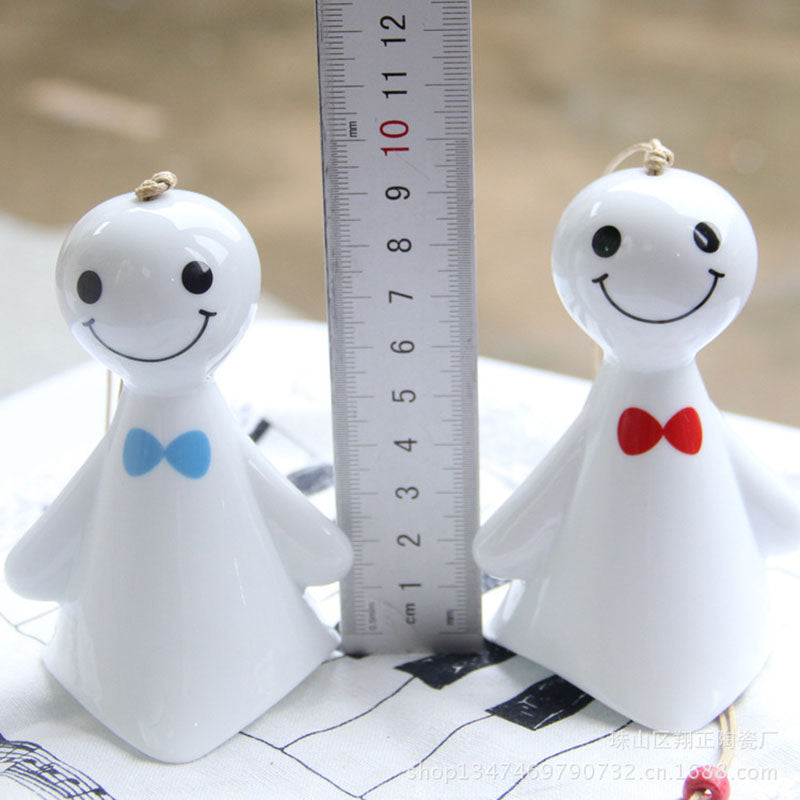Cute Ceramic Wind Bell Ceramic Pendant Sunny Doll Explosion Gift For Lover 1PCS