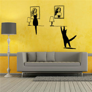 Lovely DIY Decal Home Decor Removable PVC Cute Cat Wall Sticker Vinyl Art