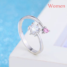 Vintage Fashion Crystal Open Adjustable Ring Silver Lover Ring Charm Jewelry Gifts