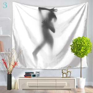 150*130cm Creative Figures Floral Printing Tapestry Wall Hanging Bedspread Beach Towel Yoga Mat