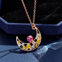 Sweet Korean Style Crystal Moon Pendant Necklace Fashion Accessories for Women