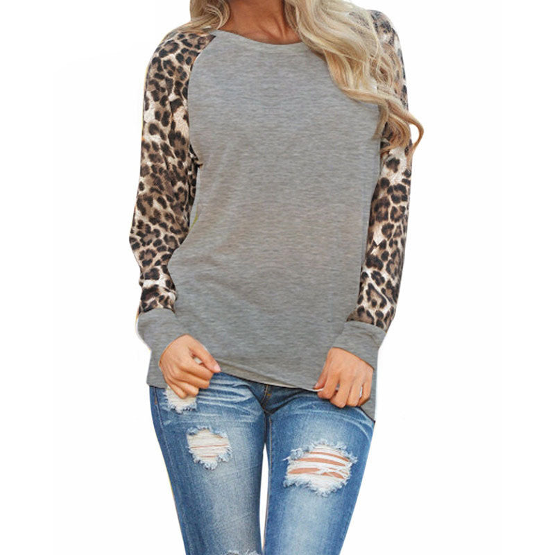 Spring Summer Round Neck Long Sleeve Loose T-shirt Blouse Leopard Print T-shirts Blouse for Women