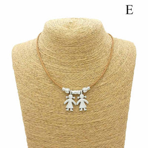 Unisex Cute Boys and Girls Pendant Necklace Creative Figures Charm Jewelry