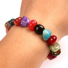 Unisex Irregular Shape Cracked Agate Bracelet Different Color Ice Cracks Bracelet