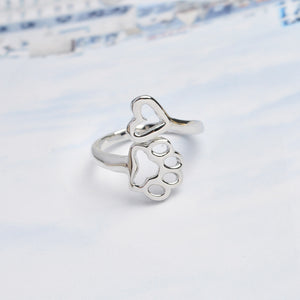 Fashion Pet Memorial Jewelry Ring Always in my Heart Dog Cat Foot Pet Paw Print Hollow Heart Pet Lover Open Ring