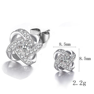 Korean Zircon Clover Stud Earrings Elegant Temperament Earrings