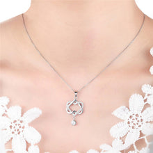 Fashion Double Heart Pendant Crystal Chain Necklace Charm Jewelry for Women