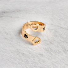 2Pcs Fashion Pet Memorial Jewelry Ring Hollow Heart Pet Lover Open Ring Couples Rings(Color:gold,silver)