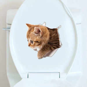 New 3D Vivid Kitten Wall Decoration Stickers Removable Cute Cat Toilet Tickers Wall Stickers