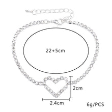 2Pcs Fashion Sexy Hollow Heart Crystal Foot Chain Summer Rhinestone Ankle Bracelet for Women