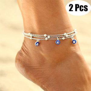 2Pcs Fashion Sexy Eye Pendant Foot Chain Summer Multilayer Ankle Bracelet for Women
