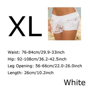New Fashion Summer Elastic Summer Casual Hollow Out Sexy Floral Shorts Lace Sheer Panty