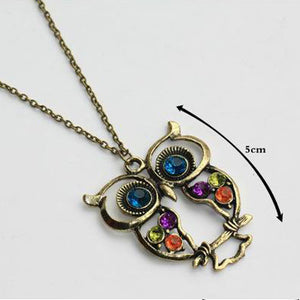 Cute Hollow Owl Sweater Chain Pendant Necklace