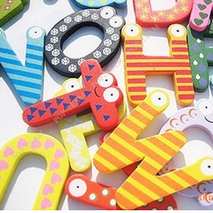 26 Letters Colorful Wooden Fridge Magnet Sticker Baby Educational Toy