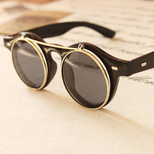 Vintage Unisex Flip Up Round Steampunk Sunglasses - Black & Golden