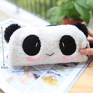 Cute Soft Plush Panda Pencil Pen Bag Cosmetic Makeup Bag Pouch-Style Random