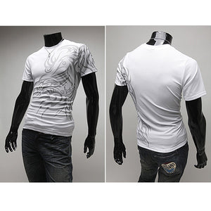 Fashion European Style Dragon Pattern Printing Round Collar Short Sleeves Fit Pullover T-Shirt for Men