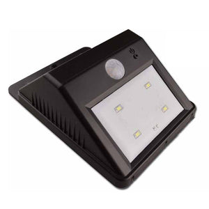 4-LED PIR Motion Sensor Super Bright White Light Solar Light Energy Saving LED Wall Lamp Garden Lamp - Black