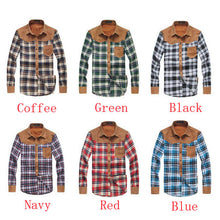 Casual Fashion Stitching Long Sleeve Checked Plaid Shirt For Men
