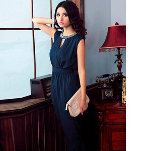 Fashion Waist-hugging Button Open Collar Sleeveless Casual Solid Color Women Rompers Jumpsuits