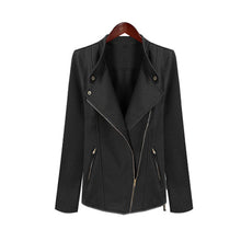 Women's Fashion Solid Color Oblique Zipper Lapel Long Sleeve Short Jacket Coat