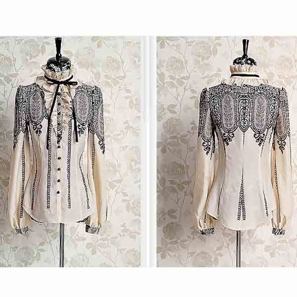 Women's Stand Collar Lace Splicing Puff Sleeve Chiffon Blouse