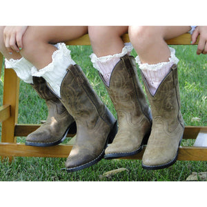 Fashion Kids Children Buttons Knitted Lace Trim Boot Toppers Boot Cuffs Liner Leg Warmers Boot Socks
