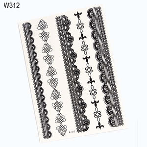 "8 Styles of Black Temporary Lace Tattoo Stickers Sexy Body Paint Leg Portion Stockings Fake Flash Tattoo-6.1""*9"""