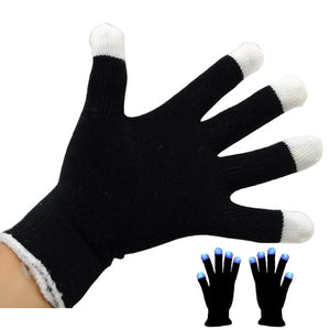 Stylish Colorful LED Gloves Funny Gadgets Rave Party Disco Light - Black