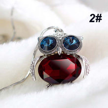 Korean Retro Charm Long Style Crystal Owl Pendant Sweater Chain with Chain Necklace