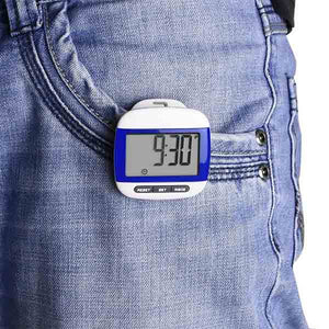 Multi-function Pocket Pedometer with Belt Clip - Blue