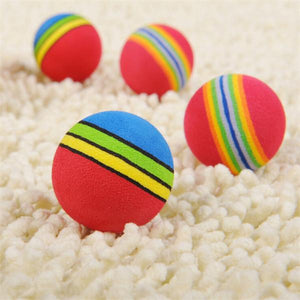 2 Pcs Pet Dog Cat Toy Rainbow EVA Ball for Training Playing Chewing - Random Color
