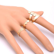 6Pcs Fashion Leaves Crown Geometry Joint Knuckle Nail Ring Set