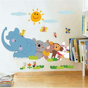 Removable Zoo Elephant Monkey Wall Sticker Kids Room Decor Decal Wallpaper