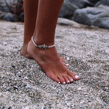 Women Anklet Bohemian Vintage Starfish Ankle Bracelet Ethnic Runic Stones Pearl Anklet Chain Beach Holiday Accessories