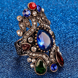 2017 Turkish Vintage Rings Mosaic Crystal Rhinestone Wide Ring Engagement Gift Big Size Women Finger Accessories