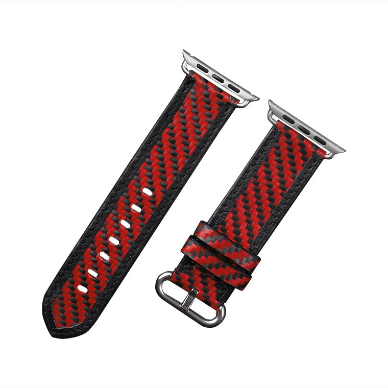 Carbon Fiber Apple Watch Band - Red - Carbon Fiber Junkie