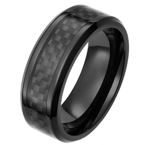 Ceramic Carbon Fiber Ring - Beveled - Black - Carbon Fiber Junkie