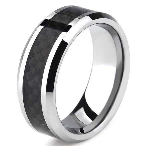 Tungsten Carbide Carbon Fiber Ring - Beveled - Silver/Black - Carbon Fiber Junkie