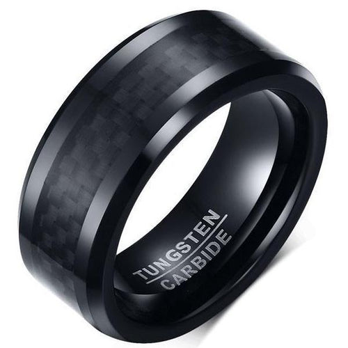 Tungsten Carbide Carbon Fiber Ring - Beveled - Black/Black - Carbon Fiber Junkie