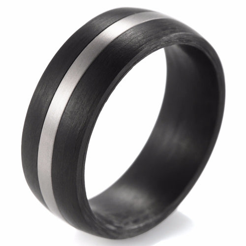 Domed Carbon Fiber Ring with Titanium Inlay - Carbon Fiber Junkie